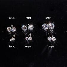 Women Men Genuine Stud 925 Solid Sterling Silver Cubic Zirconia CZ Earring 6mm