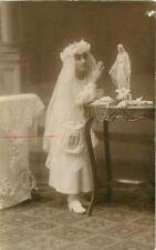 Catholic Girl praying Madonna Statue C-1910 RPPC Photo Postcard 3835