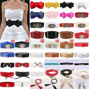 Ladies Elastic Waist Belt Bowknot Buckle Stretch Party Dress Wide Waistband