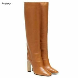Design Women's Square Heels Pull On Knee High Boots Fashion Shoes Runway Ladies