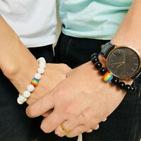 Men Women Rainbow Natural Stone Beaded Bracelet LGBT GAY Pride Couple Jewelry