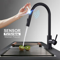 Automatic Touch Sensor Swivel Kitchen Faucet with Pull down Sprayer Matte Black