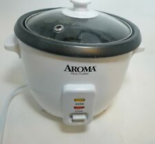 Aroma 6 Cup Non-Stick Pot Style White Rice Cooker Previously Used