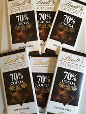 LINDT Excellence Foncé 70% de cacao bars. 6 x 100 g. Meilleur avant septembre 09...