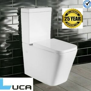 Rimless Carrine Close Coupled Square Toilet Modern Ceramic Soft Close Seat WC