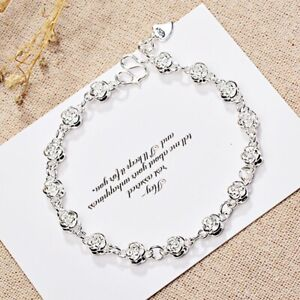 Ladies Popular Charming Rose Shiny Glossy Linked 18K White Gold Filled Bracelet