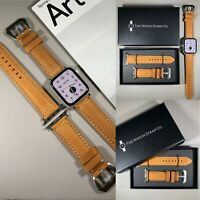 Light Brown Genuine Leather Strap For Apple Watch 42/44mm Series 1,2,3,4,5,6,SE