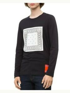 CALVIN KLEIN Mens Black Graphic Long Sleeve Classic Fit Casual Shirt L