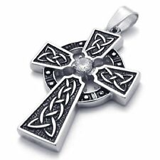 MENDINO Men's Stainless Steel Pendant Necklace Irish Knot Celtic Cross Silver