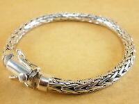 "New Bali Tulang Naga Foxtail Franco Wheat 925 Sterling Silver Bracelet 7.75"" 36g"