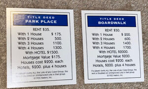 1999 Monopoly Board Game Replacement Parts-Park Place & Boardwalk Property Cards