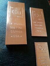 Set Copper Bullion Bars 5 pounds + 1 pound + (2) 1/2 pound bars Investment Gifts