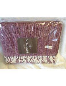NWT Sferra Throw Blanket Herringbone Fringe Merlot Burgundy Red Celine Christmas