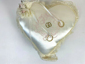 Satin Heart Ring Pillow Wedding Pillow Ring Bearer Lace Trim This is My Beloved