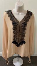 BKE Boutique Long Sleeve Lace Embellished Blouse Womens Size Medium