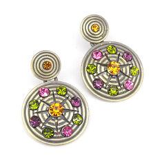 Circle Tribal Ethnic Earrings Aztec Dangle Costume Jewelry Multicolor Repro New