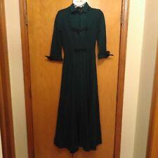 Vintage 1950/60's Handmade Long Woolen-Like Jade Green Dress with Frog Closures