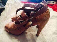 Alaia Alaïa Pink Satin and Pink Crocodile covered  Heel Sandals Size 38 $1125.00