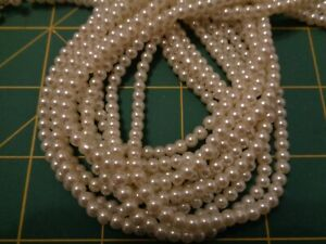 """5 x 33"""" STRANDS OF WHITE PEARLS - NEW - 4mm PEARL BEADS - BEADS DIRECT -"""