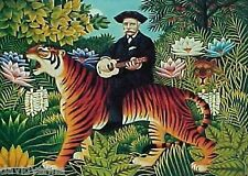 Rousseau Man Riding a Tiger Folk Art Needlepoint Canvas 14 or 18ct