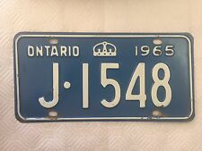 """1965 ONTARIO CANADA AUTO LICENSE PLATE """" J 1548 """" ON 65 CROWN"""