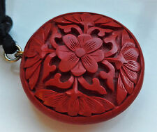 VINTAGE CARVED RED CINNABAR LACQUER FLOWER PENDANT BLACK SILK CORD NECKLACE