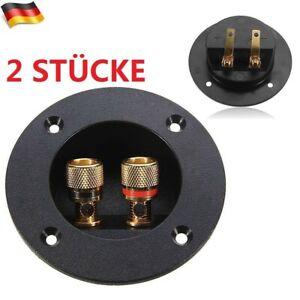 2x Lautsprecher Anschlußterminal rund vergoldet 2-polig rot/schwarz Farbring