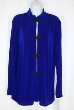 Talidesigns Group Ali Blue Asian Slinky Travel Knit Jacket sz 3 L Knotted Button