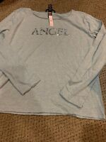 Victoria Secret Bling Angel Shirt Top Gray Long Sleeve New Medium Ruffle Sleeve