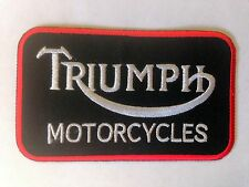 Iron On/ Sew On Embroidered Patch Badge Tri Motorcycles Rectangle Black