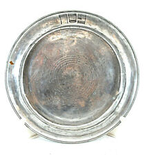 Judaica Antique Pewter Passover Plate Signed, 1860, Monogram
