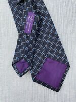 RALPH LAUREN Purple Label Mens Silk Neck Tie Black Geometric Made in England