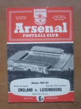 England v Luxembourg, 28/09/1961 - World Cup Qualifying Match Programme.