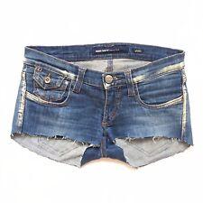 Vtg 90s Y2K Miss Sixty Faded Blue Denim Xtra Short Shorts Cut Off Hot Pants 8 34