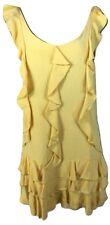 NWOT Ret.$495 Sea New York Size 6 Yellow Ruffled Tank 100% Silk Short Mini Dress