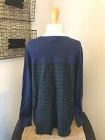 VINEYARD VINES Navy Blue Green Pleated Plaid Back Blouse Shirt Sweater SIZE L