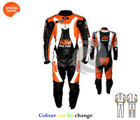 Orange and black two piece suit ce armoured Motorbike gears in cowhide leather