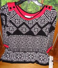 "Ladies Alfred Dunner""Ethnic Beat"" black/white/red knit top..Sz.PM...NWT."
