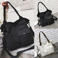 Women Casual PU Leather Handle Bag Satchel Large Capacity Bags Shoulder Tote Bag