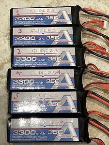 6 x G Power 3300mah 35C 5S Lipo Batteries RC Plane Excellent Condition