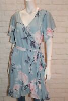 Lorraine Brand Blue Floral Short Sleeve Wrap Dress Size 14 BNWT #TQ105