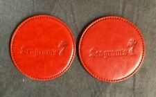Set of 2 Red Seagram's 7 Drink Coasters Faux Leather