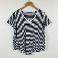 Sussan Womens Shirt Top Size XL Black White Stripe Good Condition