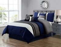 5Pc Twin Navy Blue Gray Black White Scroll Embroidered Comforter Set Bedding