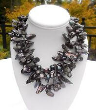 VINTAGE MOTHER OF PEARL BLACK SHELL STATEMENT NECKLACE WITH STERLING CLASP