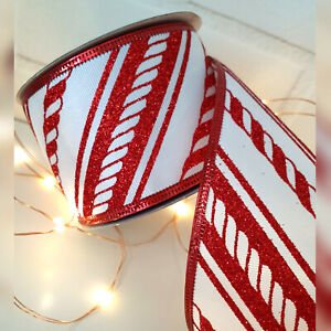 1Metre Wired Red & White Candy Cane Striped Glitter Christmas Ribbon, Sweets