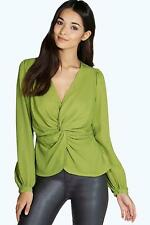 Boohoo V-Neck Solid Tops & Shirts for Women