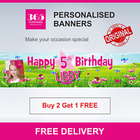 Personalised Childrens Birthday Banner - Any Age - Free Delivery D003