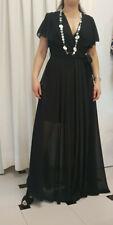 Vestito lungo Donna Abito lungo Donna con cintura colore nero SALDI