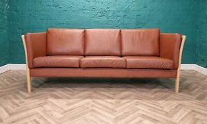 Mid Century Modern Retro Danish Tan Leather & Beech Slatted 3 Seat Sofa Settee